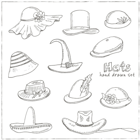 elementos de protección personal: Doodle Conjunto de diferentes cabeza se desgasta. Sombrero, gorra, ilustración vectorial tocados