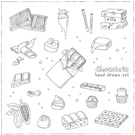 solids: Vector Set of chocolate. Illustration for menus, recipes and packages product Illustration