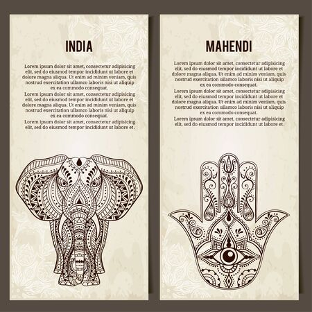 all seeing eye: Set of yoga symbols Horizontal banners.Indian Hand Drawn Hamsa with All Seeing Eye, Elephant. Arabic and Jewish amulet. Vector Illustration
