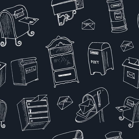 postbox: Doodle postbox seamless pattern Vintage illustration for identity, design, decoration, packages product and interior decorating.