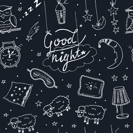 underclothing: Doodle seamless pattern images about good night Vector illustration Illustration