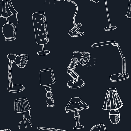 lamp shade: Doodle seamless pattern table lamps Vector illustration