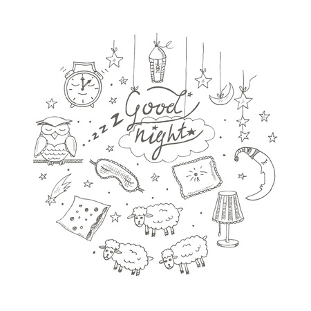 nursery tale: Doodle set of images about good night Vector illustration