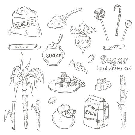 Doodle Set de produits de sucre Vector illustration pour les menus, les recettes et les forfaits