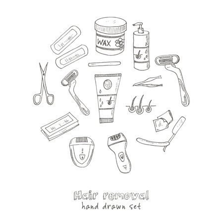 removal: Doodle Set of hair removal tools Vector illustration