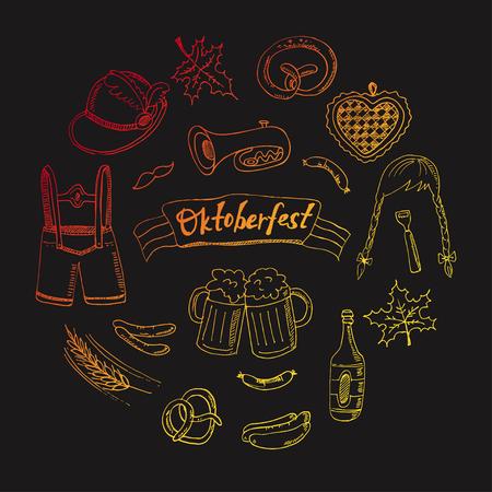 fest: October fest doodle set. Vintage illustration for identity, design, decoration, packages product and interior decorating Illustration