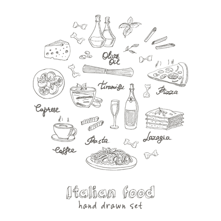 food plate: Vector hand drawn set with italian food. Vintage illustration for design menus, recipes and packages product. Illustration