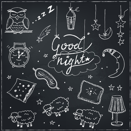 underclothing: Doodle set of images about good night Vector illustration