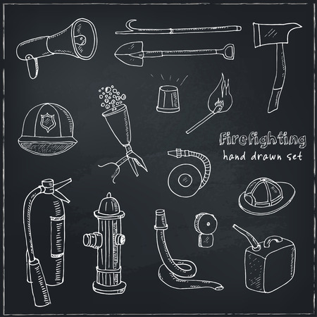 Doodle fire fighting tools set Vintage illustration for identity, design, decoration, packages product and interior decorating