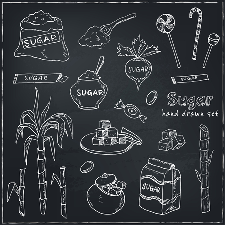 taffy: Doodle Set of sugar products Vector illustration for menus, recipes and packages