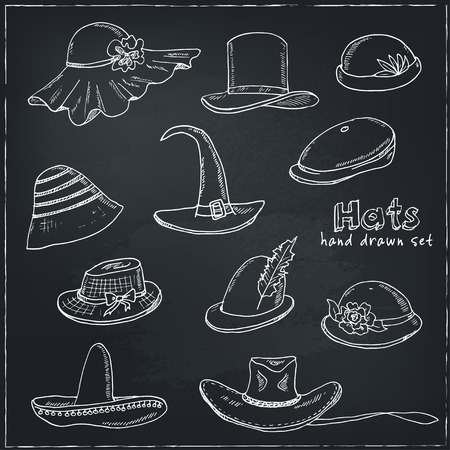 headgear: Doodle Set of different head wears. Hat, cap, headgear Vector illustration Illustration