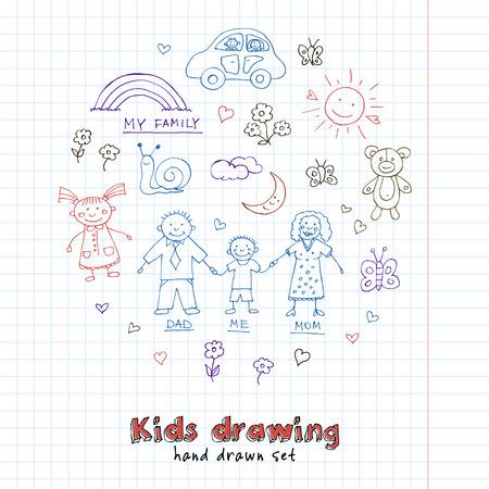 Kinderen tekeningen doodle set. Vintage illustratie voor identiteit, ontwerp, decoratie, pakketten product en interieur decoratie