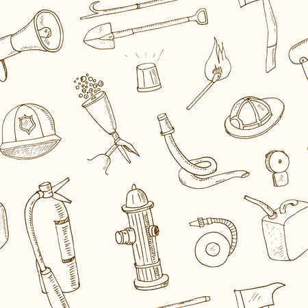 Doodle fire fighting tools seamless pattern Vintage illustration for identity, design, decoration, packages product and interior decorating Illustration