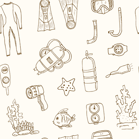 penknife: Doodle seamless pattern of diving tools Vintage illustration for identity, design, decoration, packages product and interior decorating.