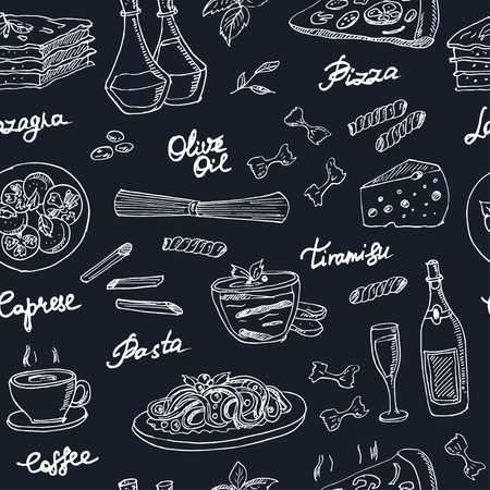 Vector hand drawn seamless pattern with italian food. Vintage illustration for design menus, recipes and packages product.