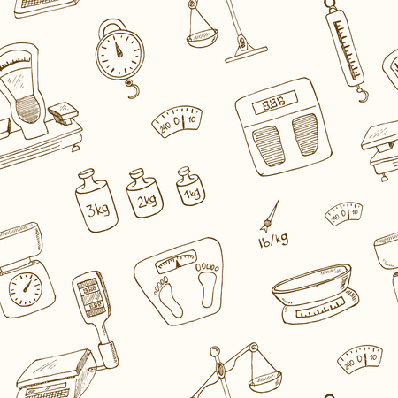 balanza de laboratorio: Doodle weighing machine seamless pattern Vintage illustration for identity, design, decoration, packages product and interior decorating