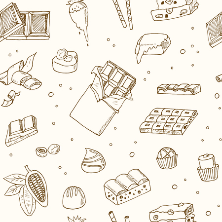 solids: Vector seamless pattern with chocolate. Illustration for menus, recipes and packages product