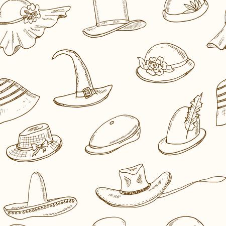 elementos de protección personal: Garabatos sin patrón con diferentes cabeza se desgasta. Sombrero, gorra, ilustración vectorial tocados