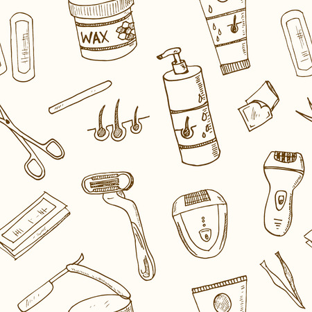 removal: Doodle seamless pattern with hair removal tools Vector illustration Illustration