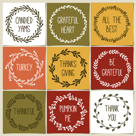 gravy: Thanksgiving day vintage gift tags and cards with calligraphy. Handwritten lettering. Hand drawn design elements. Printable items