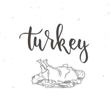 gravy: Thanksgiving day vintage gift tags and cards. Handwritten lettering. Hand drawn design elements. Printable items Illustration