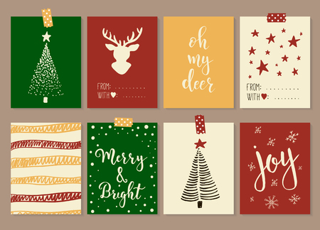 merry christmas and happy new year vintage gift tags and cards with calligraphy handwritten lettering