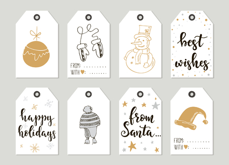 Feliz Navidad y Feliz Año Nuevo etiquetas de regalo y tarjetas de la vendimia con la caligrafía. las letras escritas a mano. Dibujado a mano elementos de diseño. Opciones imprimibles