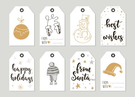 Vrolijk Kerstfeest en Gelukkig Nieuwjaar vintage giftmarkeringen en kaarten met kalligrafie. Handgeschreven letters. hand getrokken design elementen. Printable artikelen