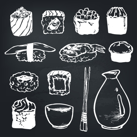 Vector Set Sushi rolls and japanese seafood l with salmon, smoked eel, selective food vector. Asia cuisine restaurant delicious. Illustration for menus, recipes and packages product Illusztráció