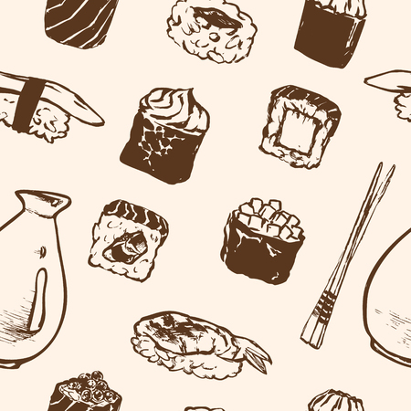 Vector Seamless pattern Sushi rolls and japanese seafood l with salmon, smoked eel, selective food vector. Asia cuisine restaurant delicious. Illustration for menus, recipes and packages product Illusztráció