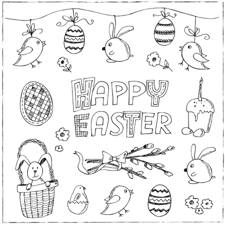 church bell: Easter traditional doodle symbols set.