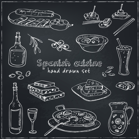 garlic bread: Vector hand drawn set of spanish cuisine: soup, liver in garlic Paella, meal with rice and seafood, fried cookie churros. Vintage illustration for design menus, recipes and packages product. Illustration
