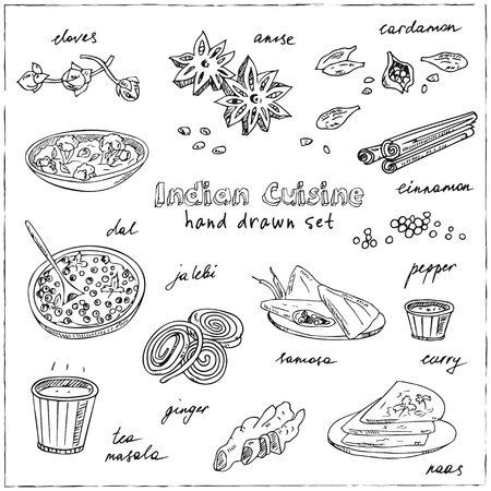 Vector hand drawn set of Indian cuisine. traditional spicy flavored dishes, desserts, beverages. Иллюстрация