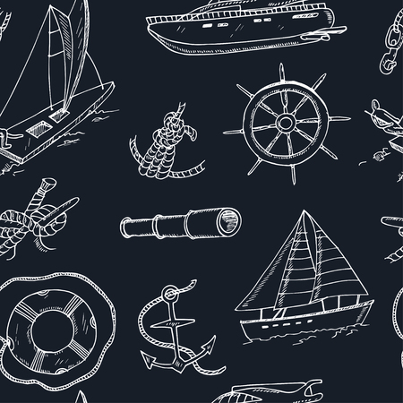 yachting: Collection of vector yachting doodle icons. Isolated objects.