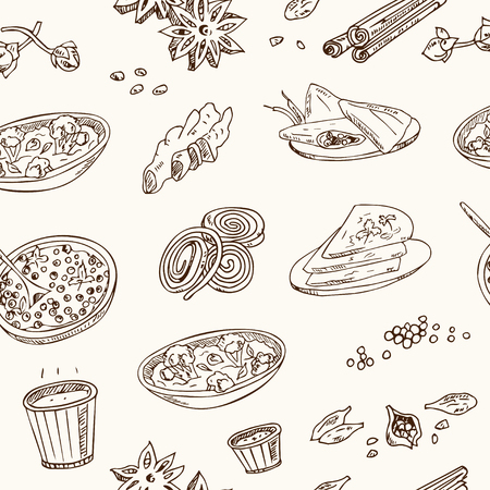 gulab: Vector hand drawn set of Indian cuisine. traditional spicy flavored dishes, desserts, beverages. Stock Photo