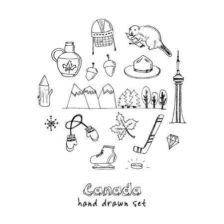 mountie: Canada hand drawn icon doodle set vector illustration Illustration