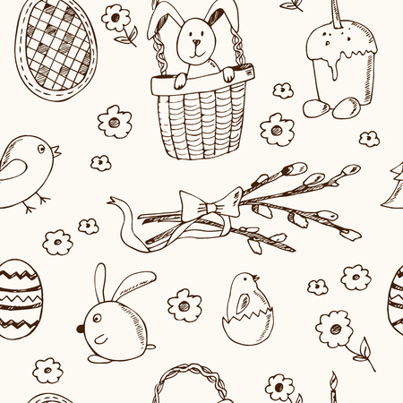 church bell: Easter traditional doodle symbols seamless pattern