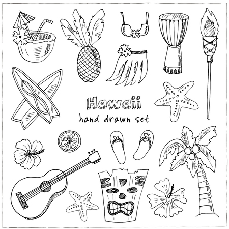 Hawaii Symbols and Icons, including Hula skirt, tiki gods, totem pole, drums, guitar, palm Illustration