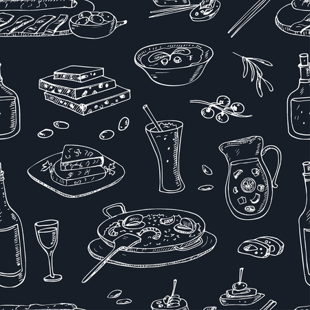 Vector hand drawn seamless pattern spanish cuisine: soup, liver in garlic Paella, meal with rice and seafood, fried cookie churros.