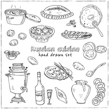 russian cuisine: Vector hand drawn set of russian cuisine. pancake, red caviar, pelmeni,, beef stroganoff, vodka and samovar.