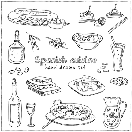 andalusian cuisine: Vector hand drawn set of spanish cuisine. soup, liver in garlic Paella, meal with rice and seafood, fried cookie churros. Illustration