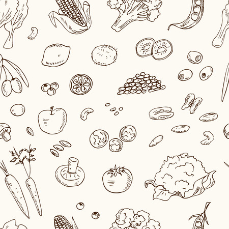 Vector hand drawn seamless pattern Vegeterian food. Vegetables, fruits. Vintage illustration for design menus, recipes and packages product.