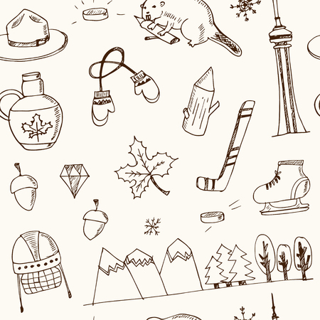 mountie canada hand drawn icon vector doodle seamless pattern
