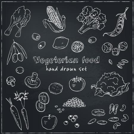vegeterian: Vector hand drawn set of Vegeterian food. Vegetables, fruits.