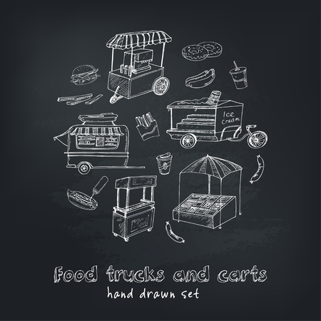 Street food trucks and carts selling hot dogs  wok dishes doodle set Illustration