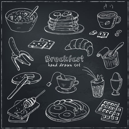 Vector breakfast and morning doodle set