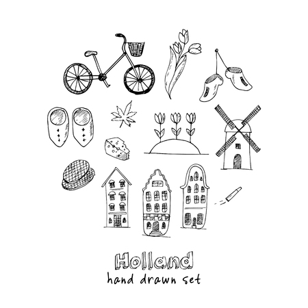 Doodle hand drawn collection of Holland icons. Netherlands culture elements for design. Vector illustration travel objects Illustration