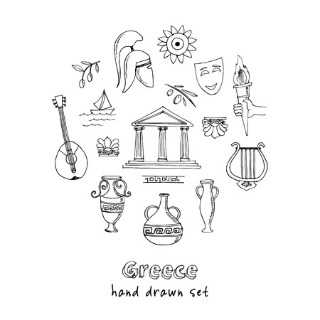 Hand drawn greece travel collection of icons Vector illustration