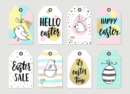 8 easter gift tags with cute easter bunny watering can with set with happy easter gift tags and cards with calligraphy handwritten lettering hand drawn negle Gallery