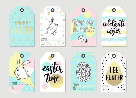 8 easter gift tags with cute easter bunny watering can with set with happy easter gift tags and cards with calligraphy handwritten lettering hand drawn negle Images